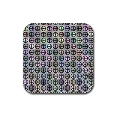 Peace Pattern Rubber Coaster (square)  by BangZart