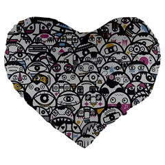 Alien Crowd Pattern Large 19  Premium Heart Shape Cushions by BangZart