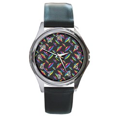 Alien Patterns Vector Graphic Round Metal Watch by BangZart