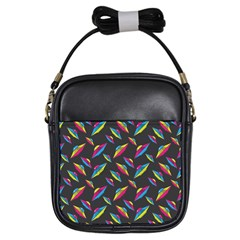 Alien Patterns Vector Graphic Girls Sling Bags by BangZart