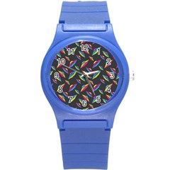 Alien Patterns Vector Graphic Round Plastic Sport Watch (s) by BangZart