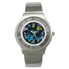 Peace & Love Pattern Stainless Steel Watch by BangZart