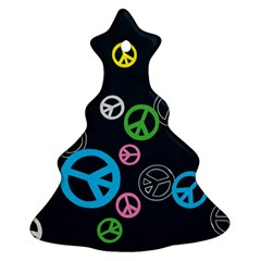 Peace & Love Pattern Ornament (christmas Tree)  by BangZart