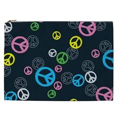 Peace & Love Pattern Cosmetic Bag (xxl)  by BangZart