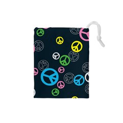 Peace & Love Pattern Drawstring Pouches (small)  by BangZart