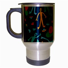Alien Pattern Blue Travel Mug (silver Gray)