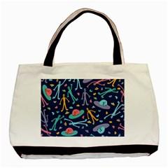 Alien Pattern Blue Basic Tote Bag by BangZart