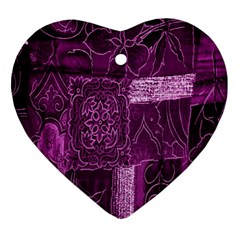 Purple Background Patchwork Flowers Ornament (heart) by BangZart