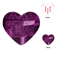Purple Background Patchwork Flowers Playing Cards (heart)  by BangZart