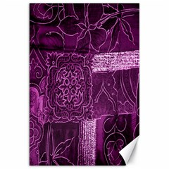 Purple Background Patchwork Flowers Canvas 20  X 30   by BangZart