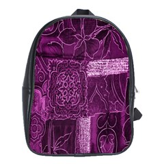Purple Background Patchwork Flowers School Bags(large)  by BangZart