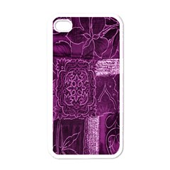 Purple Background Patchwork Flowers Apple Iphone 4 Case (white) by BangZart