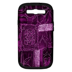 Purple Background Patchwork Flowers Samsung Galaxy S Iii Hardshell Case (pc+silicone) by BangZart