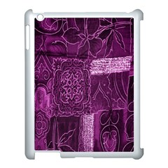Purple Background Patchwork Flowers Apple Ipad 3/4 Case (white) by BangZart
