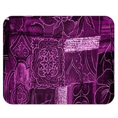Purple Background Patchwork Flowers Double Sided Flano Blanket (medium)  by BangZart