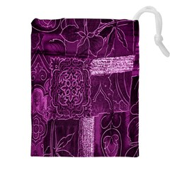 Purple Background Patchwork Flowers Drawstring Pouches (xxl) by BangZart