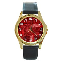 Red Background Patchwork Flowers Round Gold Metal Watch by BangZart