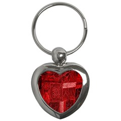 Red Background Patchwork Flowers Key Chains (heart)  by BangZart