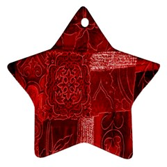Red Background Patchwork Flowers Star Ornament (two Sides) by BangZart