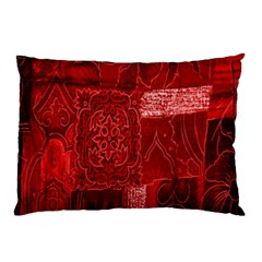 Red Background Patchwork Flowers Pillow Case (two Sides) by BangZart