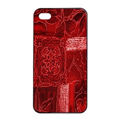 Red Background Patchwork Flowers Apple Iphone 4/4s Seamless Case (black) by BangZart
