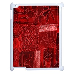 Red Background Patchwork Flowers Apple Ipad 2 Case (white) by BangZart