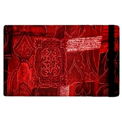 Red Background Patchwork Flowers Apple Ipad 3/4 Flip Case by BangZart