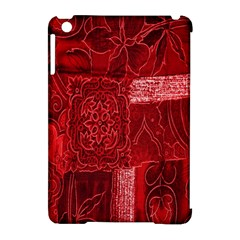 Red Background Patchwork Flowers Apple Ipad Mini Hardshell Case (compatible With Smart Cover) by BangZart