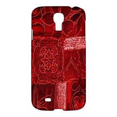 Red Background Patchwork Flowers Samsung Galaxy S4 I9500/i9505 Hardshell Case by BangZart