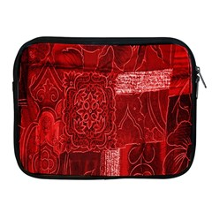 Red Background Patchwork Flowers Apple Ipad 2/3/4 Zipper Cases by BangZart