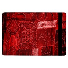 Red Background Patchwork Flowers Ipad Air Flip by BangZart