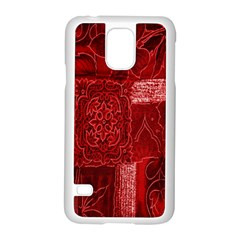 Red Background Patchwork Flowers Samsung Galaxy S5 Case (white) by BangZart