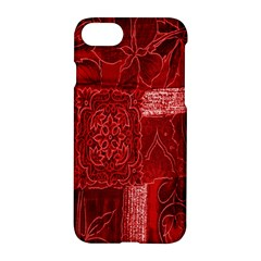 Red Background Patchwork Flowers Apple Iphone 7 Hardshell Case by BangZart