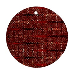 Rust Red Zig Zag Pattern Ornament (round) by BangZart