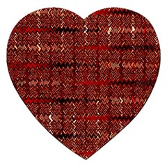 Rust Red Zig Zag Pattern Jigsaw Puzzle (heart) by BangZart