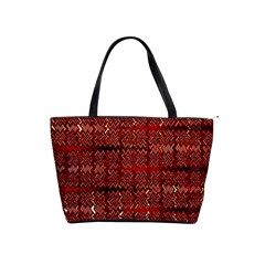 Rust Red Zig Zag Pattern Shoulder Handbags by BangZart