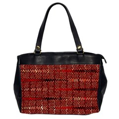 Rust Red Zig Zag Pattern Office Handbags (2 Sides)  by BangZart
