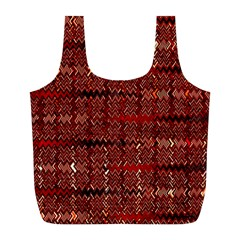 Rust Red Zig Zag Pattern Full Print Recycle Bags (l)  by BangZart