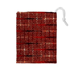 Rust Red Zig Zag Pattern Drawstring Pouches (Large)  by BangZart