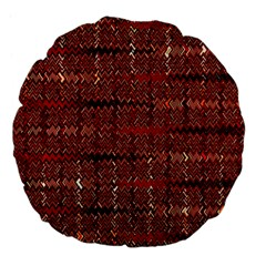 Rust Red Zig Zag Pattern Large 18  Premium Flano Round Cushions by BangZart