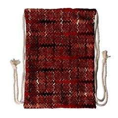 Rust Red Zig Zag Pattern Drawstring Bag (large) by BangZart