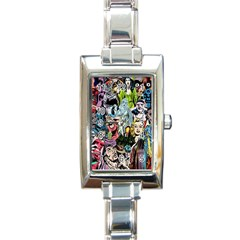 Vintage Horror Collage Pattern Rectangle Italian Charm Watch by BangZart