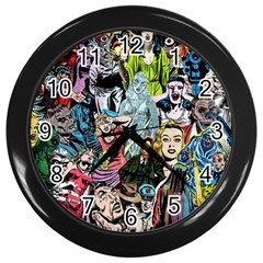 Vintage Horror Collage Pattern Wall Clocks (black) by BangZart