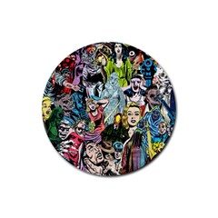 Vintage Horror Collage Pattern Rubber Round Coaster (4 Pack)  by BangZart