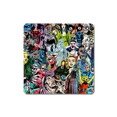 Vintage Horror Collage Pattern Square Magnet by BangZart