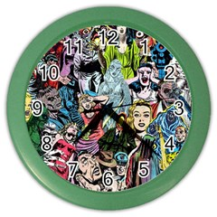 Vintage Horror Collage Pattern Color Wall Clocks by BangZart