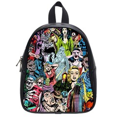 Vintage Horror Collage Pattern School Bags (small)  by BangZart