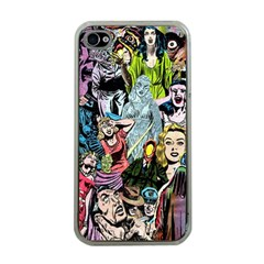 Vintage Horror Collage Pattern Apple Iphone 4 Case (clear) by BangZart
