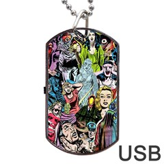 Vintage Horror Collage Pattern Dog Tag Usb Flash (two Sides) by BangZart