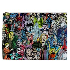 Vintage Horror Collage Pattern Cosmetic Bag (xxl)  by BangZart